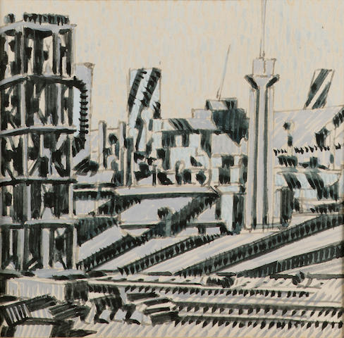 Edward Wadsworth (1889-1949) Dazzle ships in Liverpool Docks 13.5 x 18.5 cm. (5 1/4 x 7 1/4 in.) (un