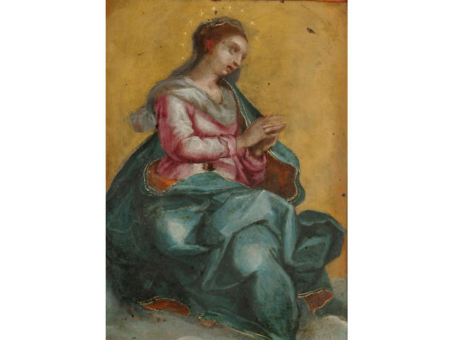Flemish School, 17th Century The Virgin Mary in Glory, 7 x 5.5 in. (17.6 x 14 cm)