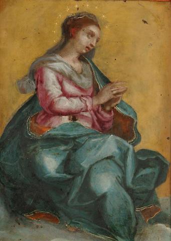 Flemish School, 17th Century The Virgin Mary in Glory, 7 x 5.5 in. (17.6 x 14 cm)