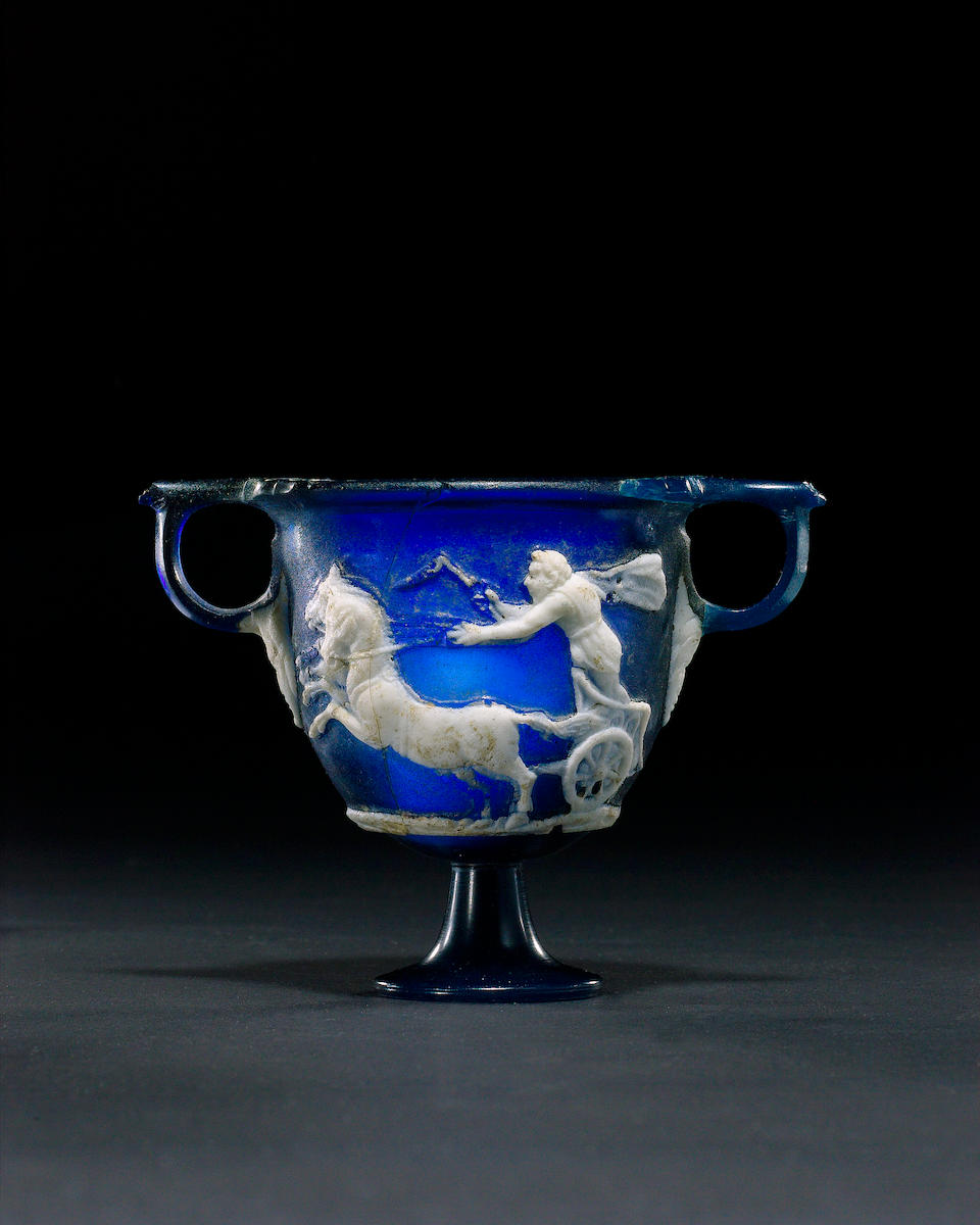 A Cameo Glass Skyphos with Charioteers