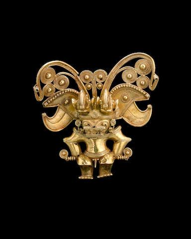 A large Tairona gold figural pendant