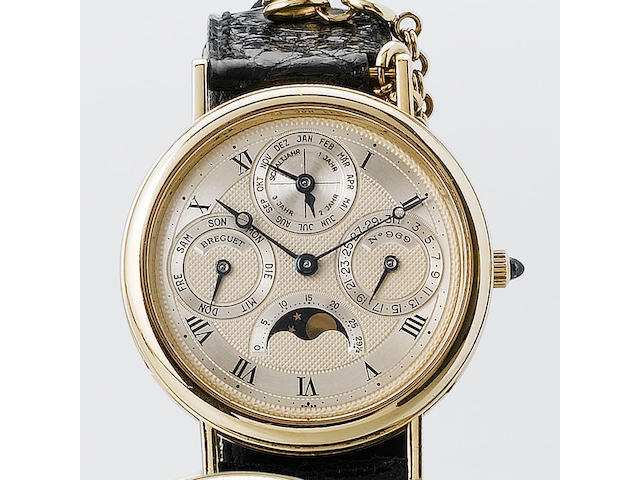 Breguet.  A fine and rare 18 carat gold automatic perpetual calendar wristwatchRef 969B, the movemen