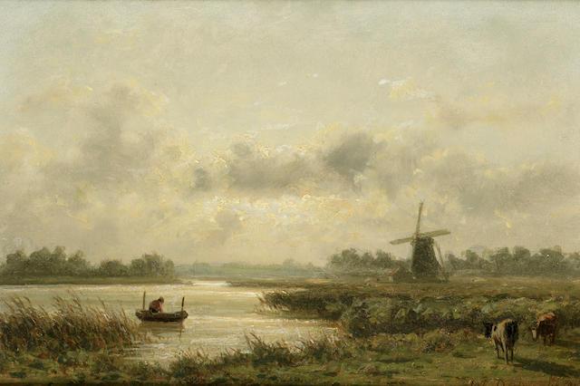 Johannes Josephus Destree (Belgian 1827-1888) Lac et paysage, Hollande, 6 x 8 1/4 in. (15 x 21 cm.)