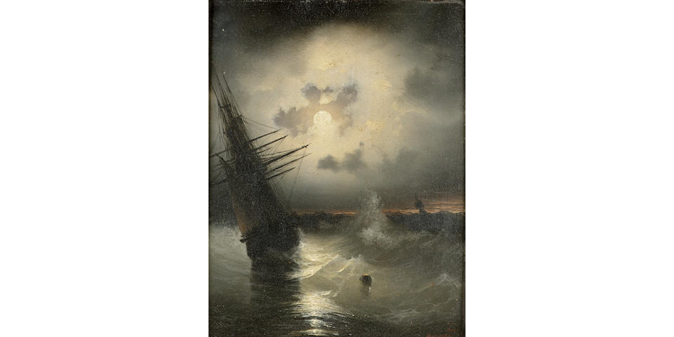 Ivan Constantinovich Aivazovsky (Russian 1817-1900) Ships at sea by moonlight 24.8 x 19.2 cm. (9 3/4