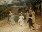Arthur John Elsley (British 1860-1952) Baby's turn 109 x 142 cm. (43 x 56 in.)
