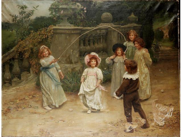 Arthur John Elsley (British 1860-1952) Baby's turn 109 x 142 cm. (43 x 56 in.)