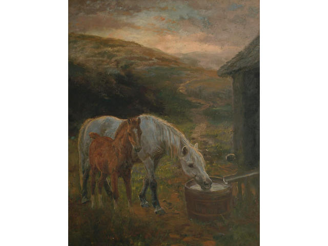 English School (19th Century), Mare and foal at a water trough in an extensive moorland landscape, 89.5 x 70cm