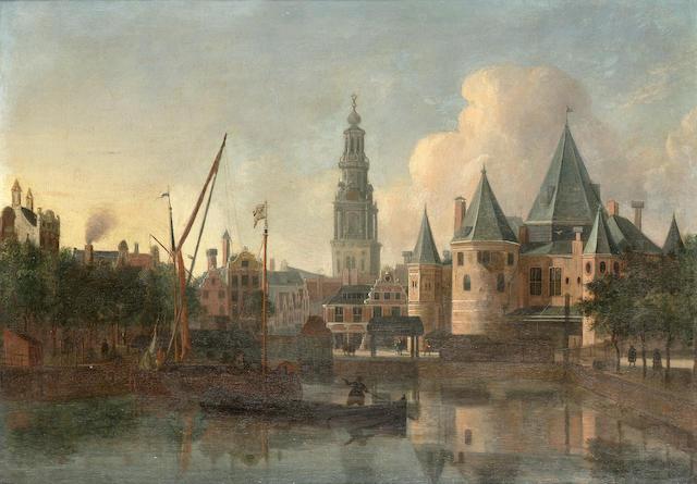 Gerrit Adriaensz. Berckheyde (Haarlem 1638-1698) The Nieuwemarkt, Amsterdam,  29.5 x 41 cm. (11 5/8 x 16 1/8 in.)