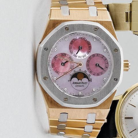 Audemars Piguet. A limited edition pink gold and platinum perpetual calendar wristwatchRoyal Oak, case No. D41913, No. 3/25, 1994