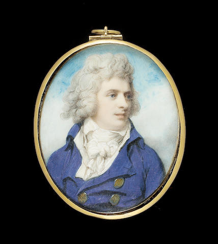 Richard Cosway R.A., Lord Henry Fitzgerald (1761-1829), wearing blue coat, white waistcoat and tied cravat, his hair powdered