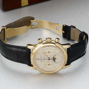 Patek Philippe. A rare gold perpetual calendar wristwatch with snap-on backRef.3970, 1986