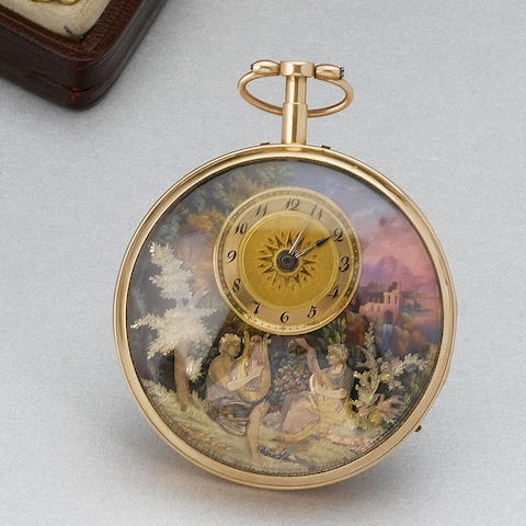 A fine and rare 18ct gold and enamel decorated quarter repeating automata musical watch with cylinde