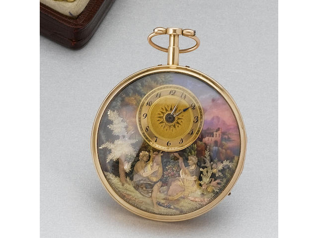 A fine and rare 18ct gold and enamel decorated quarter repeating automata musical watch with cylinder escapement Signed around the movement band Hy. Capt a Geneve, numbered 444