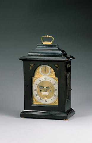 An early-mid 18th century ebony veneered bracket clock  Card, Londini
