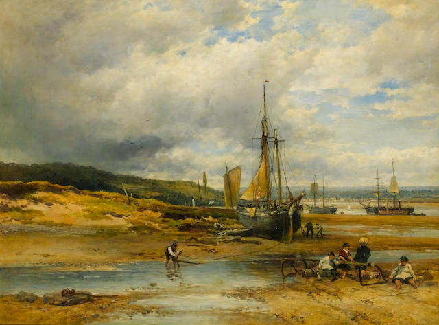 John Syer, RI (British 1815-1885) Low tide 102 x 138 cm. (40 x 54 1/4 in.)