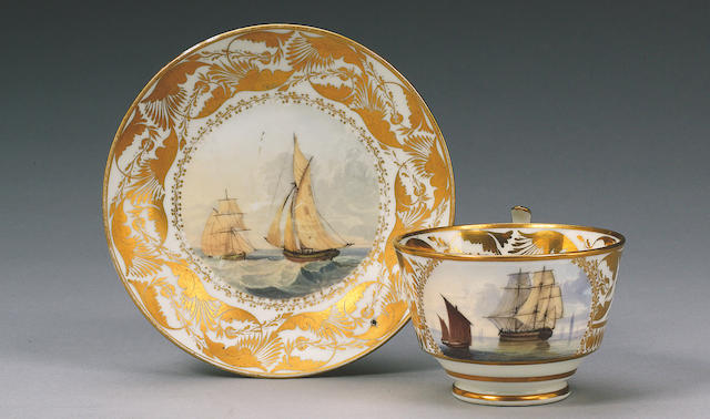 A rare Swansea teacup and saucer circa 1815-17