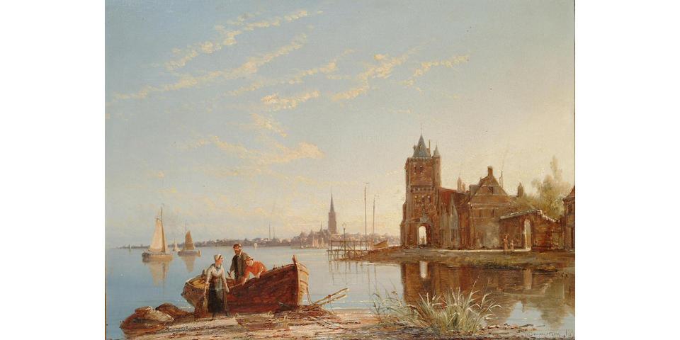 William Dommersen (Dutch 1850-1927) On the Zuider Zee, 28.5 x 38 cm
