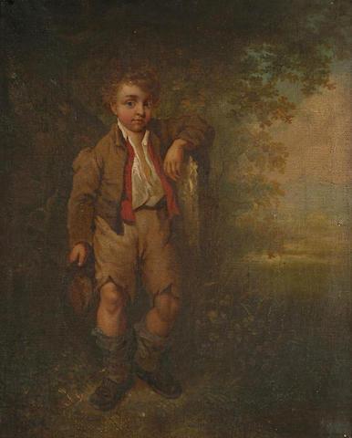 Follower of Barker of Bath Portrait of a ragamuffin in a country landscape, 32 x 25.5cm