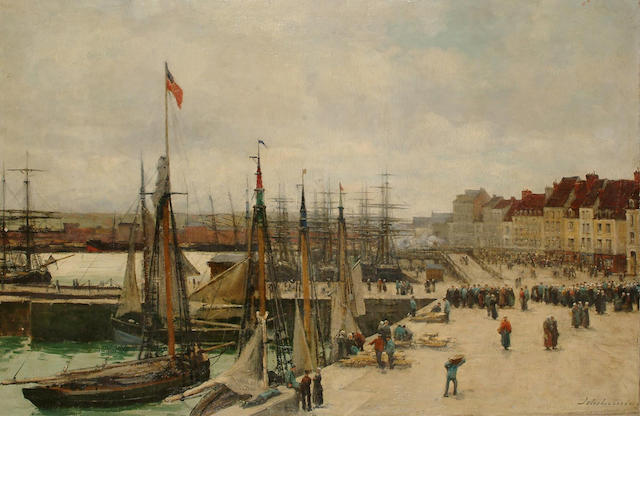 Jules Lessore (French/British, 1849-1892) French harbour scene,