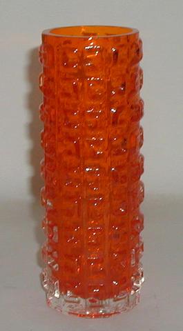 A Whitefriars Tangerine Aztec vase,