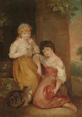 English School, 19th Century, After Thomas Gainsborough,  Young Hobbinol and Ganderetta, 36.2 x 25.8