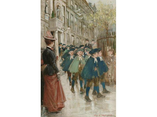 Walter Jenks Morgan (British, 1847-1924), A trip from school, 26.5 x 17 cm.
