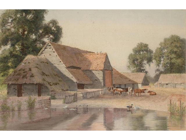 James Thomas Watts (British, 1853-1930) The Farmyard, 29.5 x 44.5 cm.