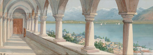 Y.Gianni (Italian, circa 1900) Looking over an Italian lake, 12 x 32 cm.