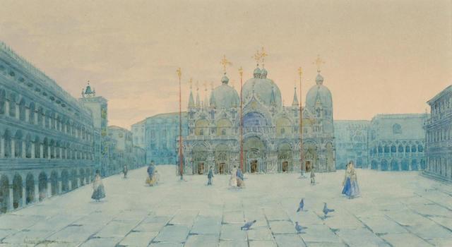 Natale Gavagnin (Italian, b.1851) St.Mark's Square; The Rialto Bridge; The Grand Canal, Venice, 12.5 x 22.5 cm, (3).
