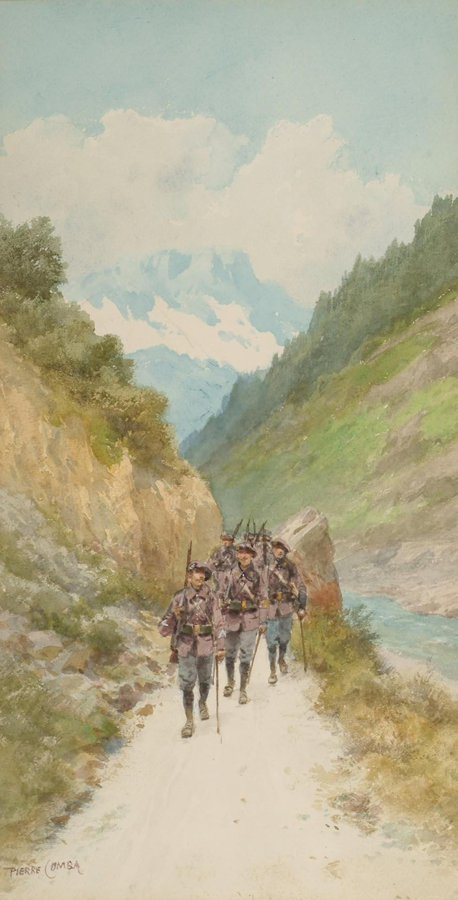 Pierre Comba (French, d.1934) A reconnoitre in the Alps; On patrol, 34 x 18 cm, (2).