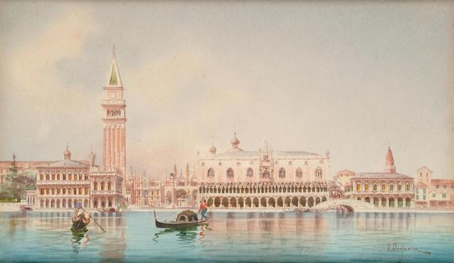 Umberto Ongania (Italian, 19th Century) View of the Doge's Palace, 18 x 29.5 cm.
