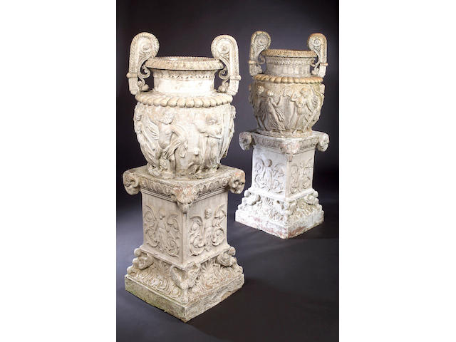 After the Antique A pair of classical earthenware Urns,