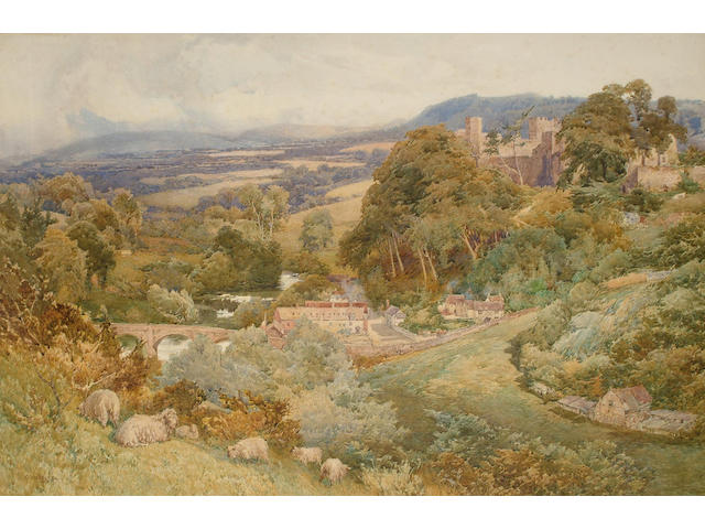 George Hodgson (British, 1847-1921) Valley of the Teme and Castle at Ludlow, 66.5 x 100.5 cm.
