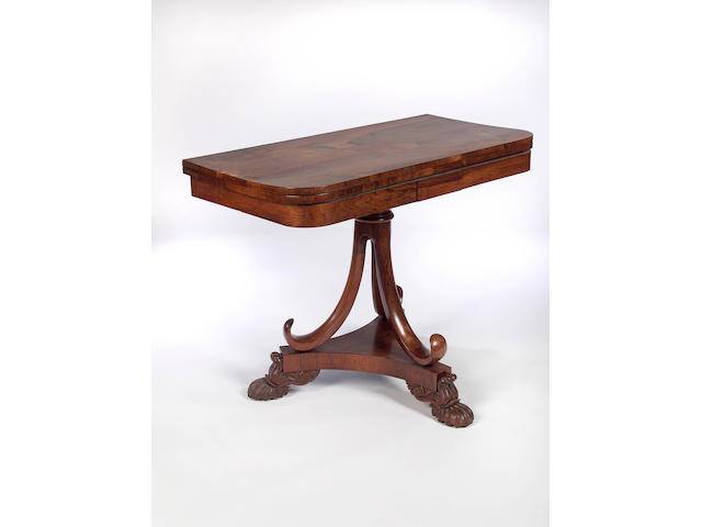 A William IV rosewood fold-over Tea Table,