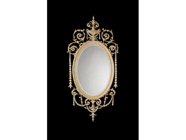 A pair of 19th century carved giltwood pier mirrorsin the manner of Robert Adam,