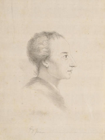 Follower of Jonathan Richardson (British, 1665-1745) Portrait of Alexander Pope, 20 x 15.5 cm.