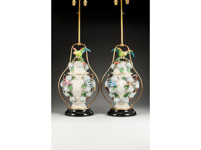 A pair of Dresden Schneeballen two handled baluster vases and covers, late 19th century, converted into lamps,