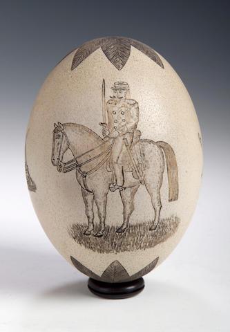 A 19th Century Scrimshaw Ostrich Egg,