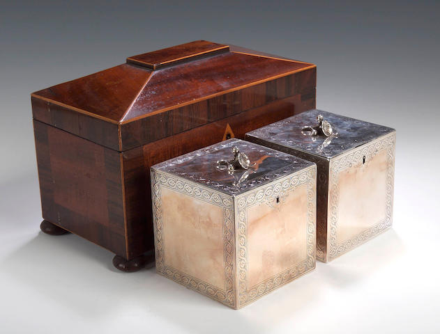 A pair of George III caddies,  by Aaron Lestourgeon, London 1773,
