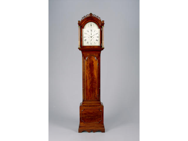 A late 18th Century figured mahogany longcase clock