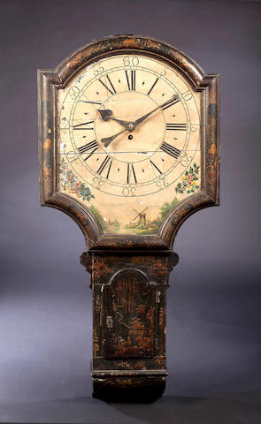 A late 18th Century black lacquer and gilt-japanned Tavern Clock,