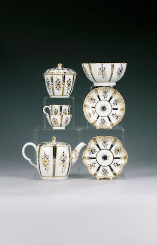 A Caughley fluted blue and gilt part tea and coffee service, circa 1785,