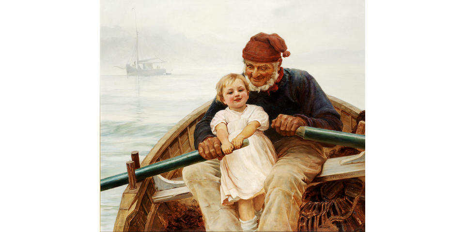Fred Morgan, ROI (British 1847-1927) A willing hand 74 x 83.5 cm. (29 x 32 3/4 in.)