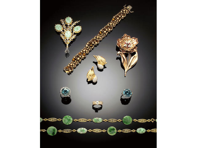 A jade and diamond floral spray brooch by Federico Buccellati