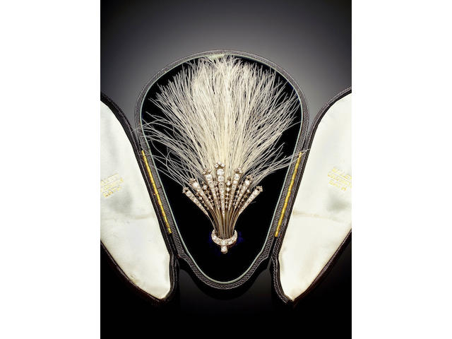 An elegant diamond and feather egrette ,