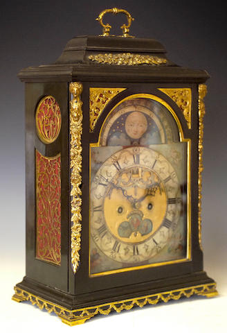 An 18th Century ebony and gilt-metal mounted Table Clock, Fs. Pasteur, Amsterdam,