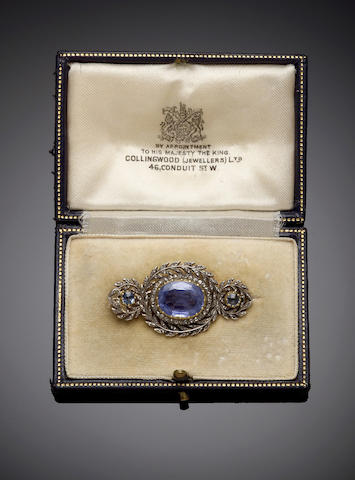 A sapphire and diamond brooch with French assay mark