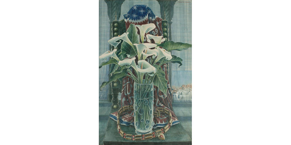 Stuart Armfield (British, 1916-2000) Arum lilies by a window 72 x 48cm.