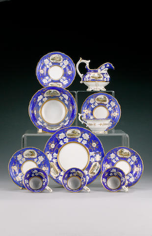 A Davenport part tea and coffee service and a pair of Spode teacups and saucers, circa 1835 and 1810