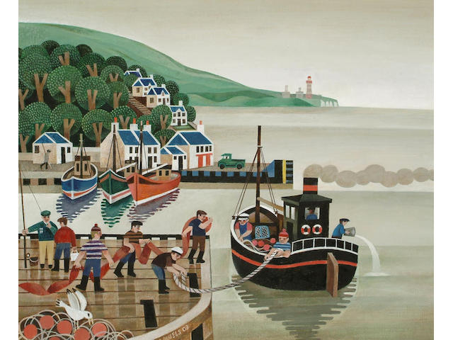 Alfred Daniels (British, b.1924) Fisherman in the harbour 53.5 x 63.5cm.